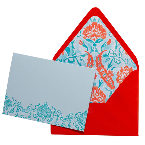 Folded Fancy Notecards | Damask