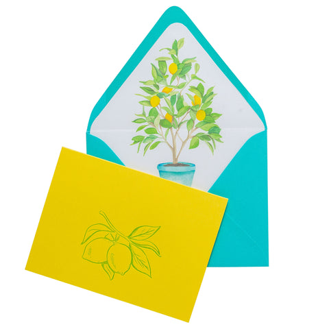 Folded Fancy Notecards | Lemon