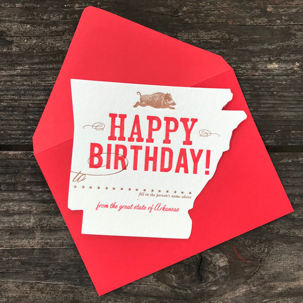Arkansas Birthday | Die-Cut Letterpress Greeting Card