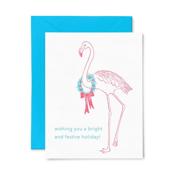 Flamingo | Holiday | Letterpress Greeting Card