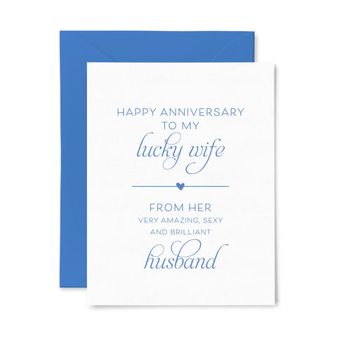 Lucky Wife Anniversary | Love | Letterpress Greeting Card