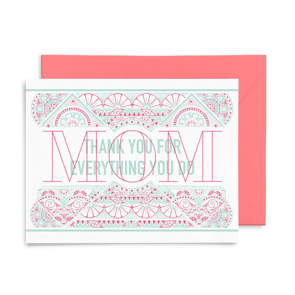 Thank You Mom | Mother's Day | Letterpress Greeting Card