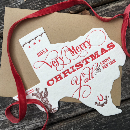 Texas Holiday | Die-Cut Letterpress Greeting Card