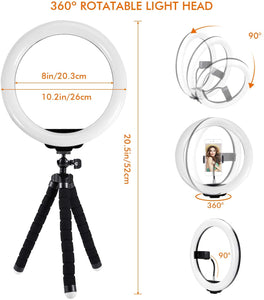 10.2 Inch LED Ring Light Lamp with Adjustable Tripod Stand