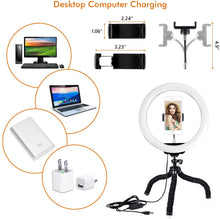 Load image into Gallery viewer, 10.2 Inch LED Ring Light Lamp with Adjustable Tripod Stand