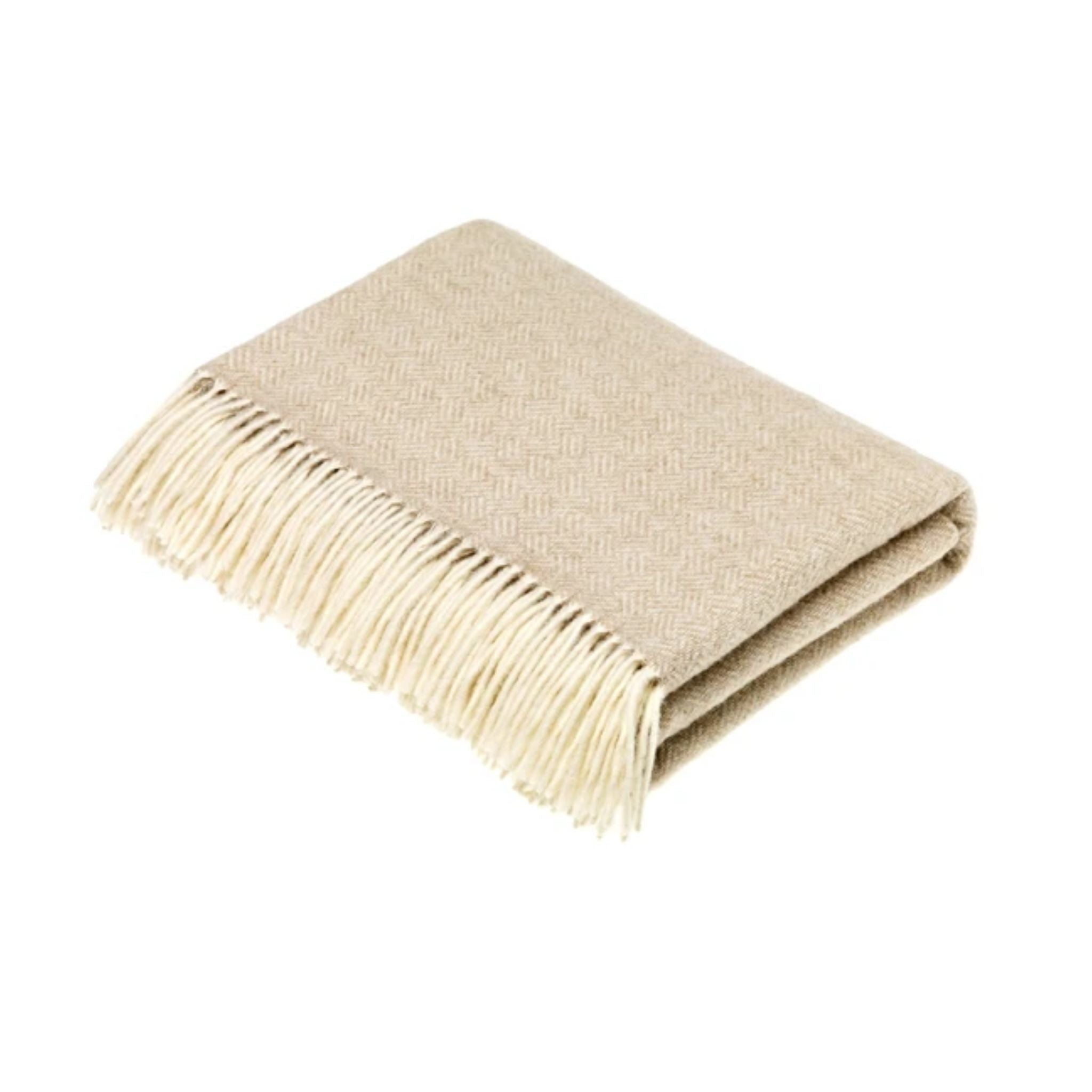 Merino Wool Throw - Parquet Collection Beige