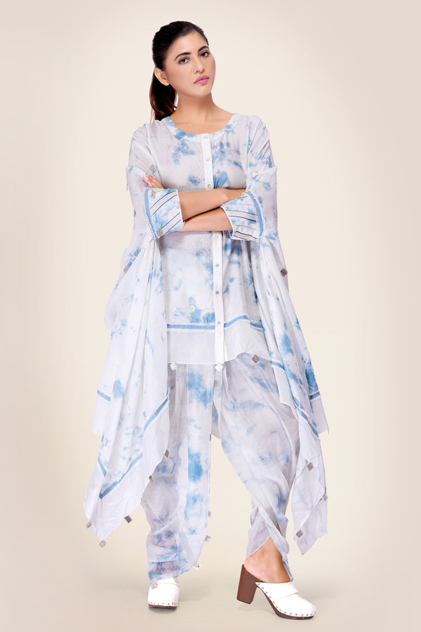 White and Blue Cape with embroidered cuffs