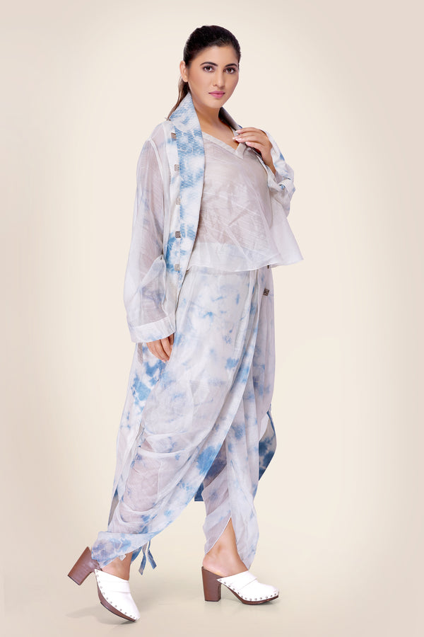 Ivory and Blue Tie Dye Dhoti Pants with front pleats lined with coins
