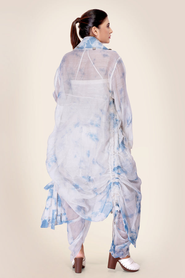 Ivory and Blue Tie Dye cape Jacket with side drawstrings