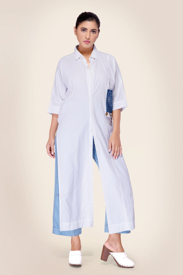 High Low Asymmetrical Shirt with optional drape button and crochet patch pocket
