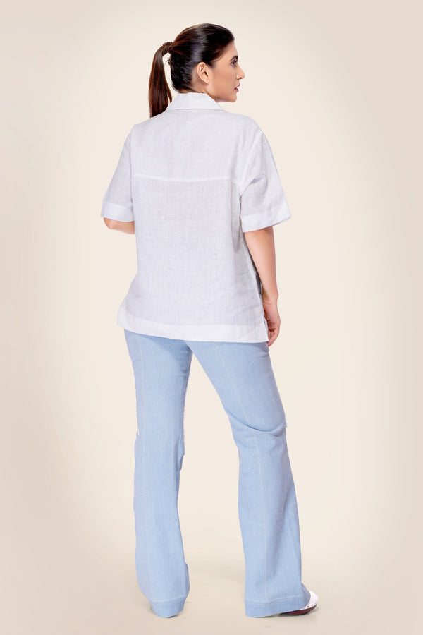 Pure Linen Shirt with Denim flap Pockets