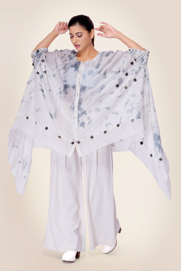 White and Gunmetal Cape with embroidered cuffs