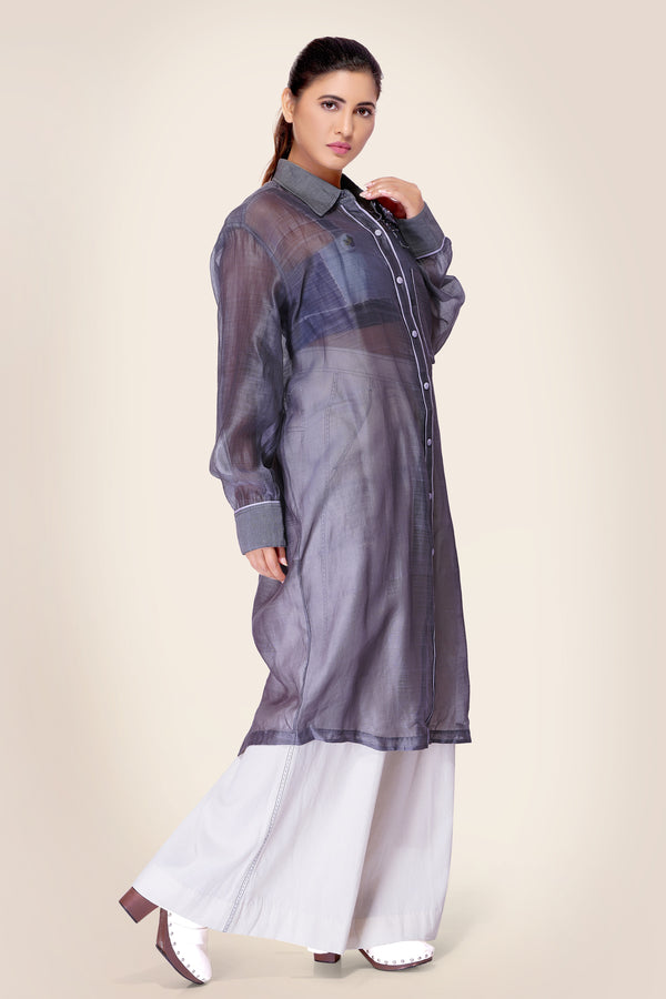Grey Long Shirt with Embroidery