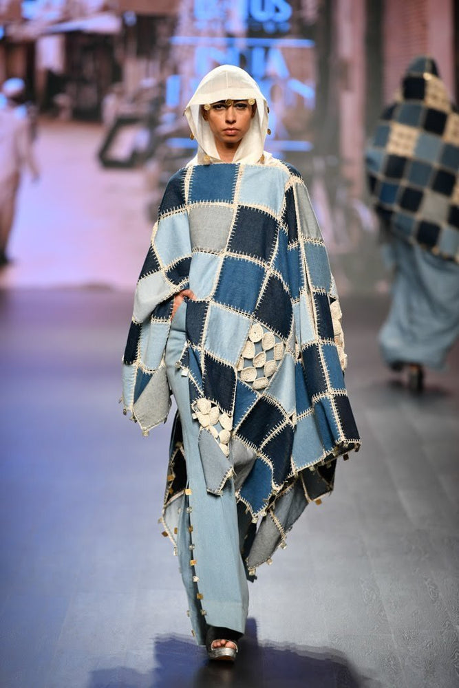 Patchwork Asymmetrical Cape in Denim