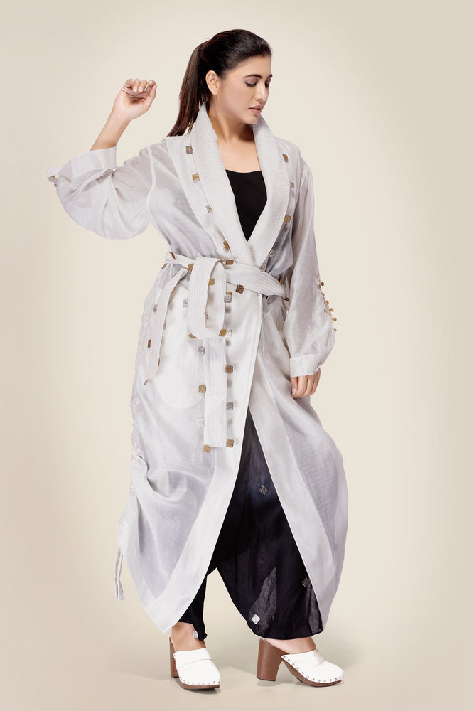 Ivory Robe Jacket with quilted belt