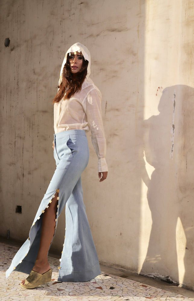 Flared pants with Side slit encrusted with coins
