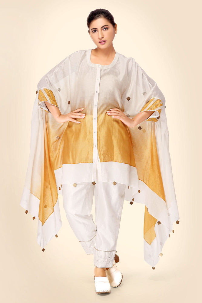SET - Silk Chanderi Ombre dyed Cape Kurta with Narrow embroidered Pants