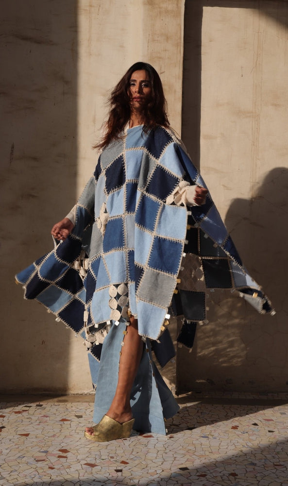 Denim Patchwork hand Crochet Kaftan with coins