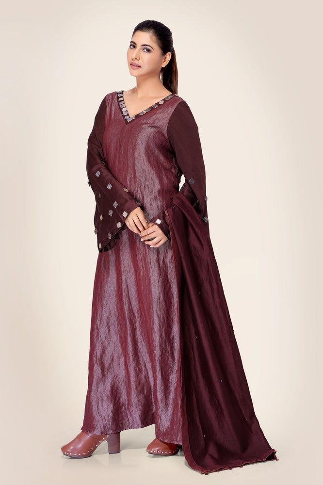 Zari Kurta Maxi Dress with Chanderi Dupatta