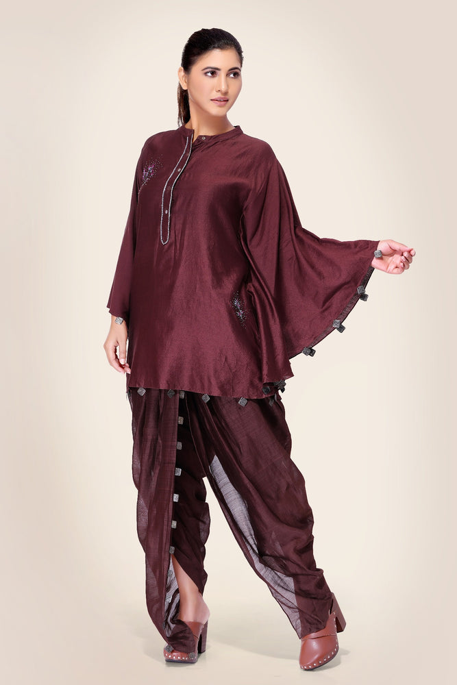 Oxblood Kurta with Hand Embroidery