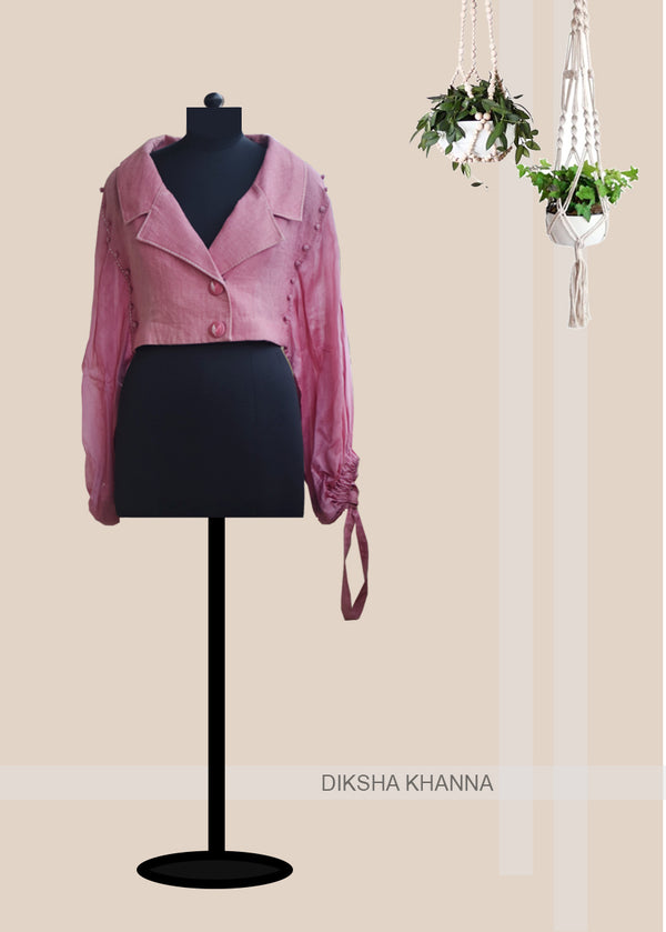 Cherry Pink Linen Jacket Top