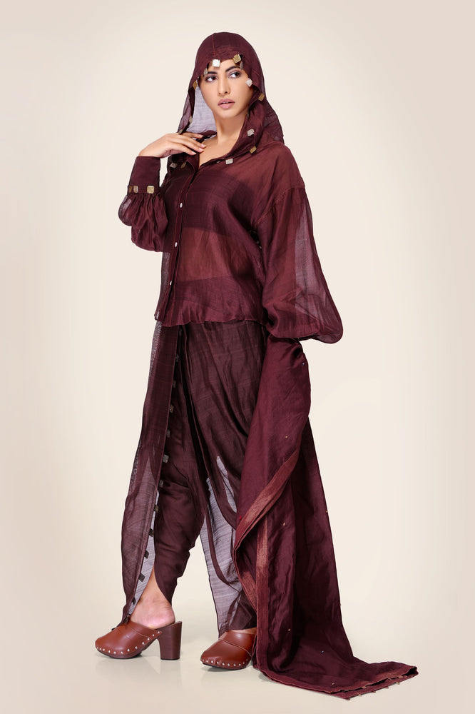 SET  - Oxblood Shirt and Dhoti pants with Dupatta