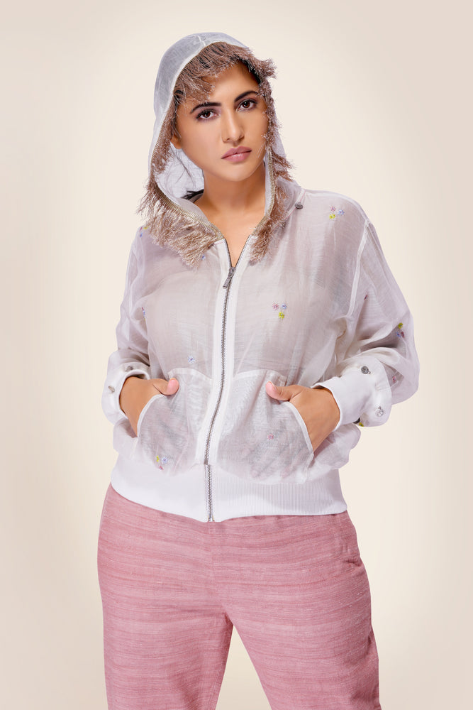 Chanderi Bomber with Zari Lace Hooddie