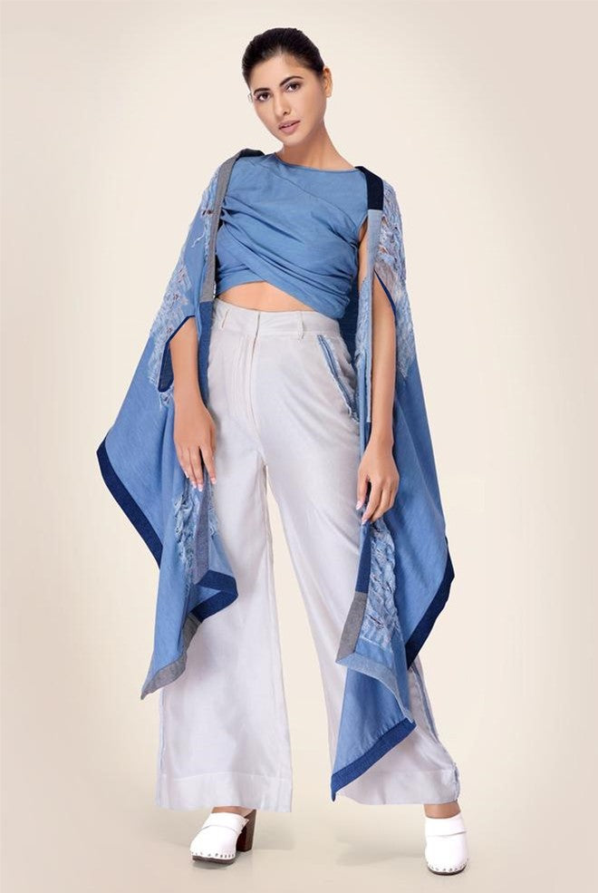Denim shrug Cape with patchwork border