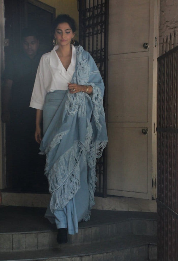 Hand Distressed Denim Saree