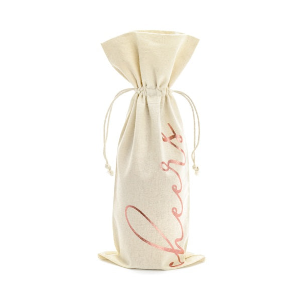 Rose Gold Wine Cotton Bag (5 pack)