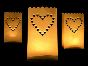 White Heart Paper Lanterns (10 pack)