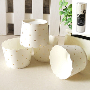White & Gold Dot Baking Cups (25 pack)