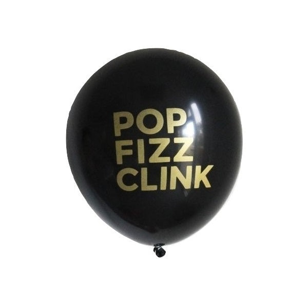 Pop Fizz Clink Black 30cm Balloons (3 pack)