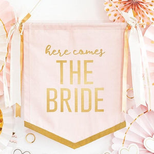 Pink Here Comes The Bride Sign