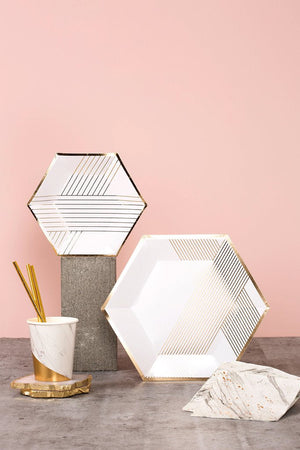 Blanc Hexagon Dessert Plates (8 pack)