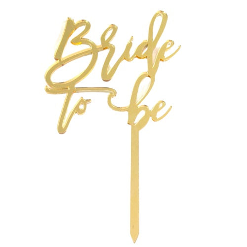 Bride to Be Gold Mirrored Cake Topper