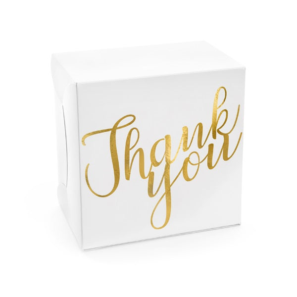 Gold Thank You Cake Boxes (10 pack)