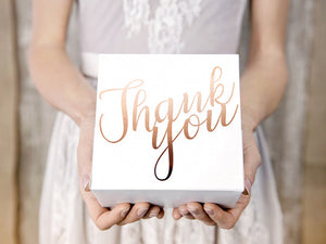 Rose Gold Thank You Cake Boxes (10 pack)