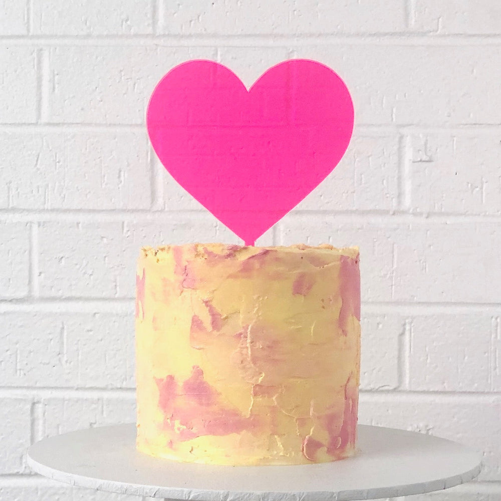 Neon Pink Heart Cake Topper