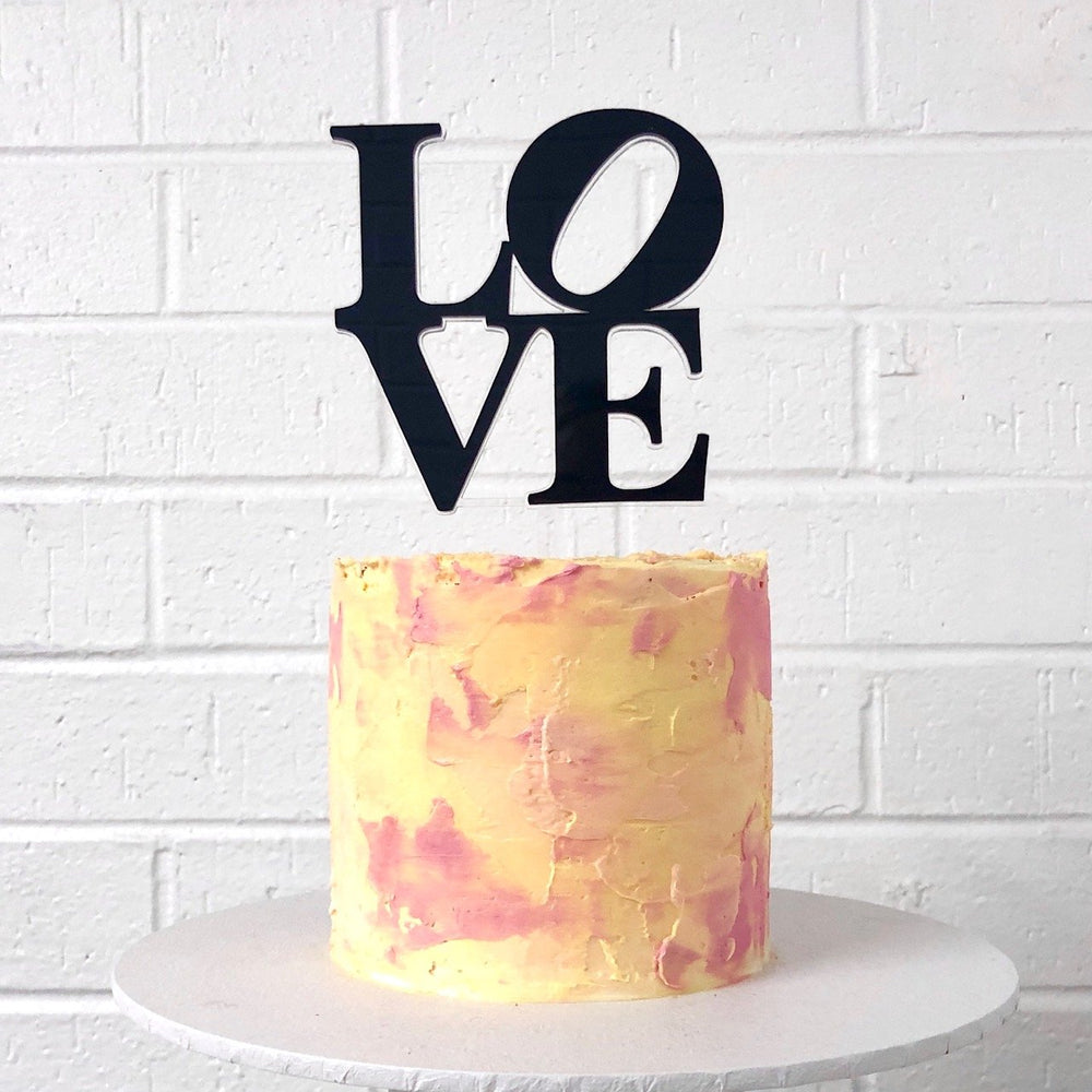 Love Stacked Black Cake Topper
