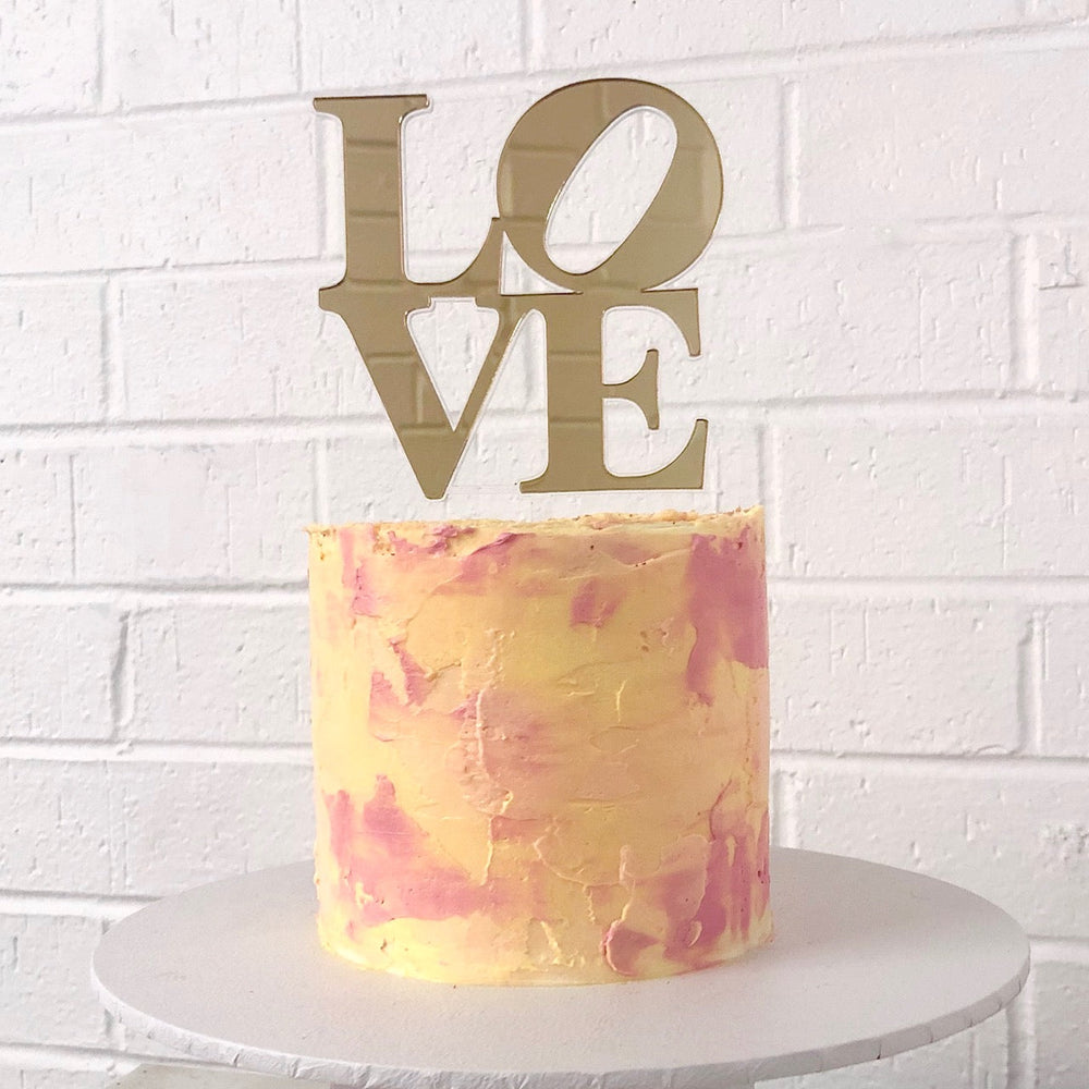Love Stacked Gold Cake Topper