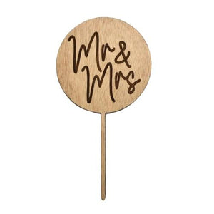 Mr & Mrs Round Wooden Cake Topper