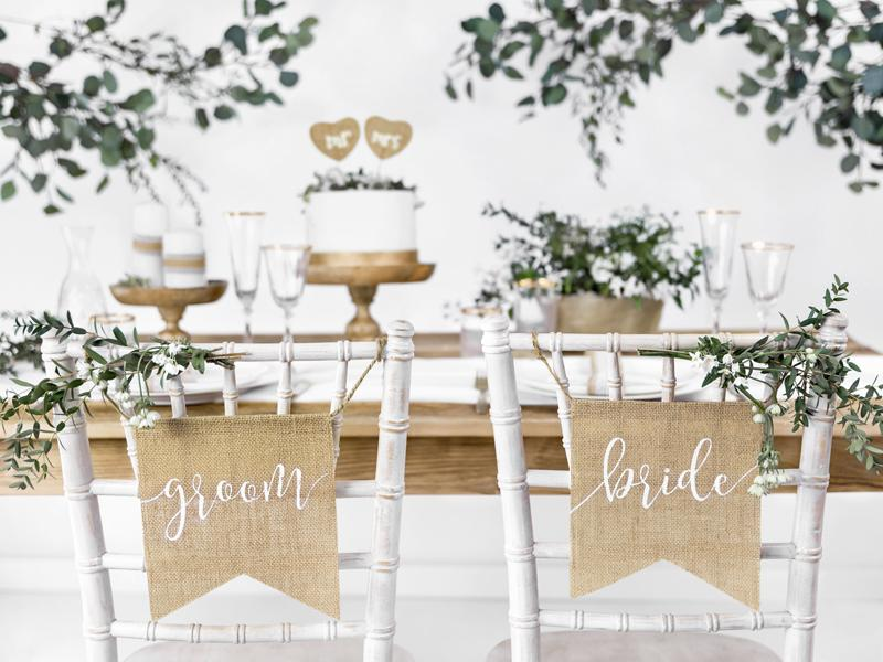 Burlap Bride & Groom Chair Signs