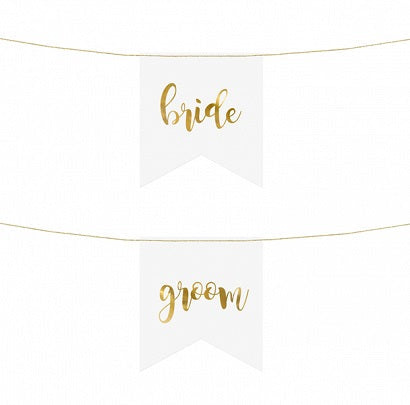 White Bride & Groom Chair Signs