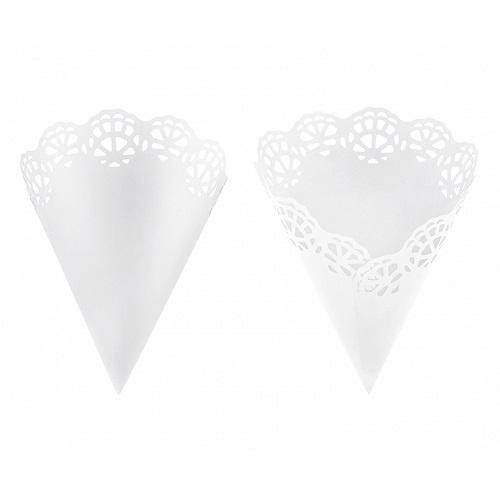 White Lace Confetti Cones (10 pack)