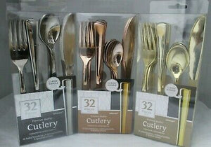 Load image into Gallery viewer, Premium Metallic Gold Cutlery Set (32 pieces)