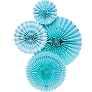 Load image into Gallery viewer, Aqua Blue Party Fans (4 pack)