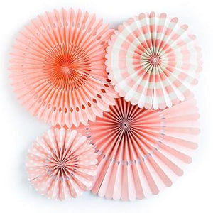 Load image into Gallery viewer, Coral Party Fans (4 pack)