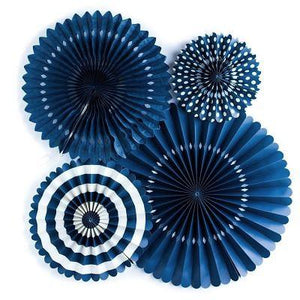 Navy Blue Party Fans (4 pack)