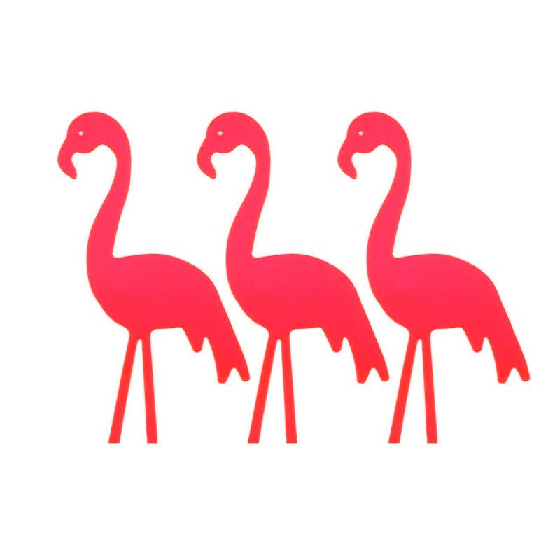 Neon Red Flamingo Cake Toppers (3 pack)